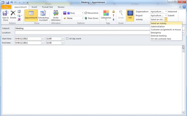 TSR Outlook User Agent – At skabe en aftale med TSR info