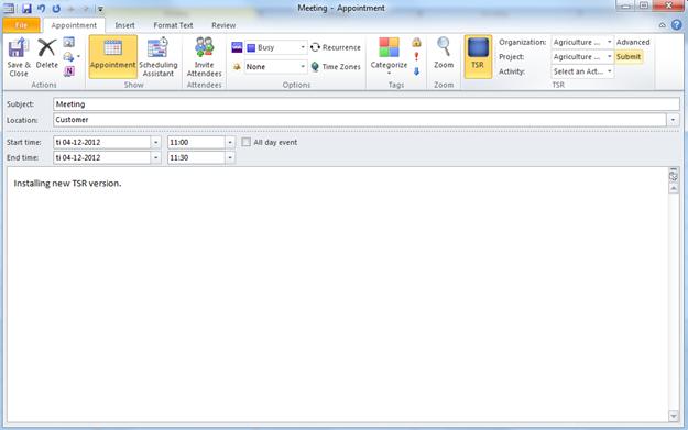 TSR Outlook User Agent – Indsend en enkelt tidsregistrering