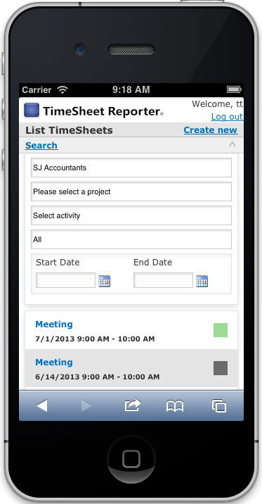TSR SmartPhone - Search TimeSheets
