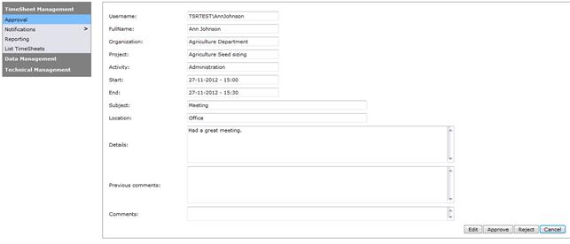 TSR Admin - Detaillierte Informationen über jeden Zeiteintrag