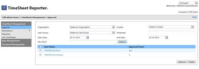TSR Admin – Overblik over brugeres tidsregistreringer