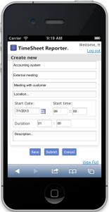 TSR SmartPhone - Create TimeSheet