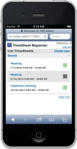 TSR SmartPhone - List TimeSheets
