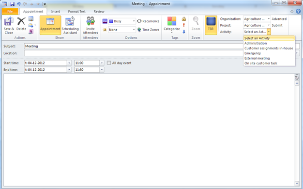 Screenshot - Creating an appointment with TSR info