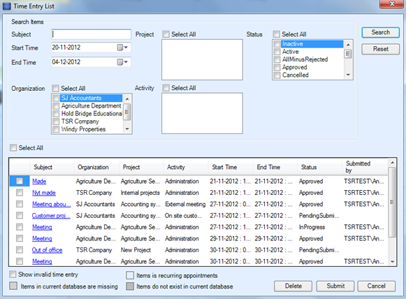 Screenshot - Getting an overview of time entries and submit them in bulk