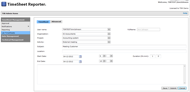 Screenshot - Manual time entry (Detailed)