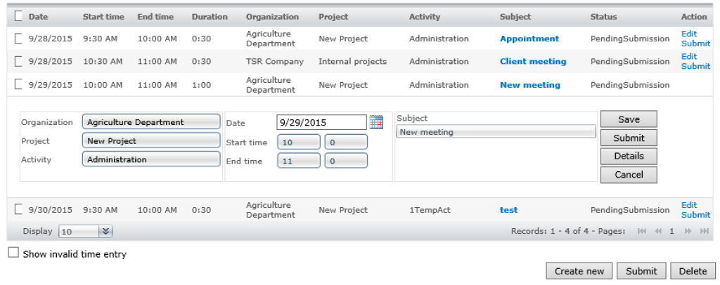 Screenshot - Manual time entry (Quick)